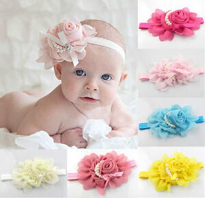 Girls-Chiffon-Pearl-Headband-Rose-Satin-Bow-Hairband-Photoshoot-Accessory-Baby