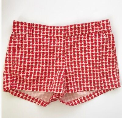 j crew red cream mini-apple shorts, Perfect For fall! size 4 new without tags