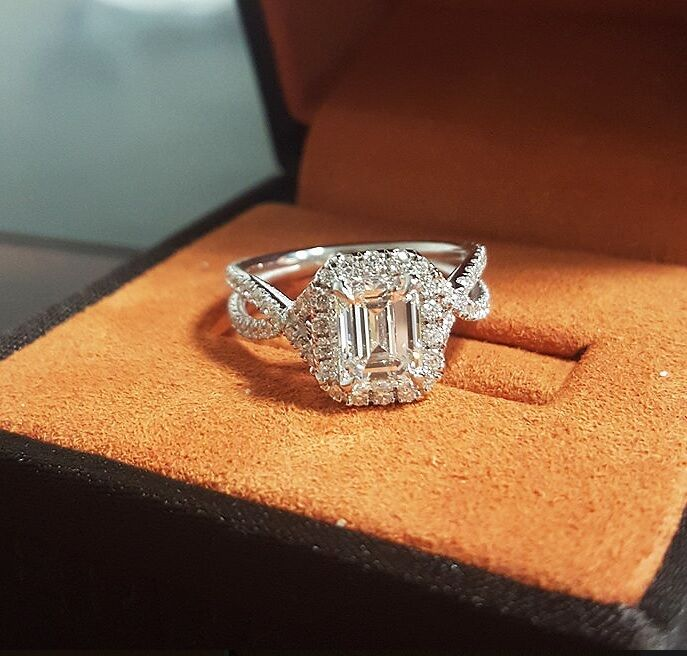 1.85 Ct Halo Emerald Cut Diamond Spiral Shank Pave Engagement Ring D,VS2 GIA 14K 1