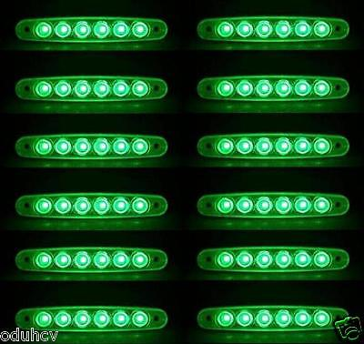 10x Struttura Laterale Indicatore 6 LED Verde 12V Luci CAMION