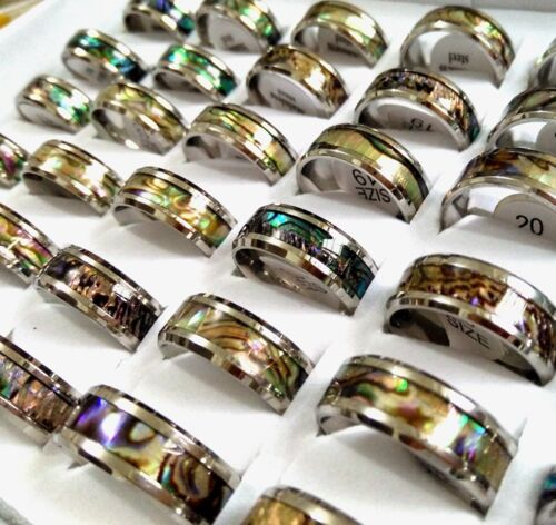 50x Unique Top Quality Colorful Shell Stainless Steel Rings Men Women Cool Rings
