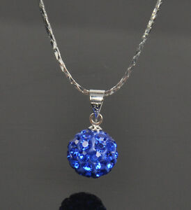 Hot Sale 10 Colors Shinning Rhinestone Disco Ball Beads Pendants Necklace