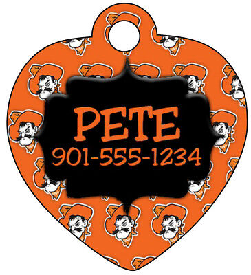 Oklahoma State Pet Id Tag for Dogs and Cats Personalized w/ Name & Number