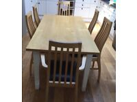 Oak dining table with 6 chairs and 2 kitchen stools