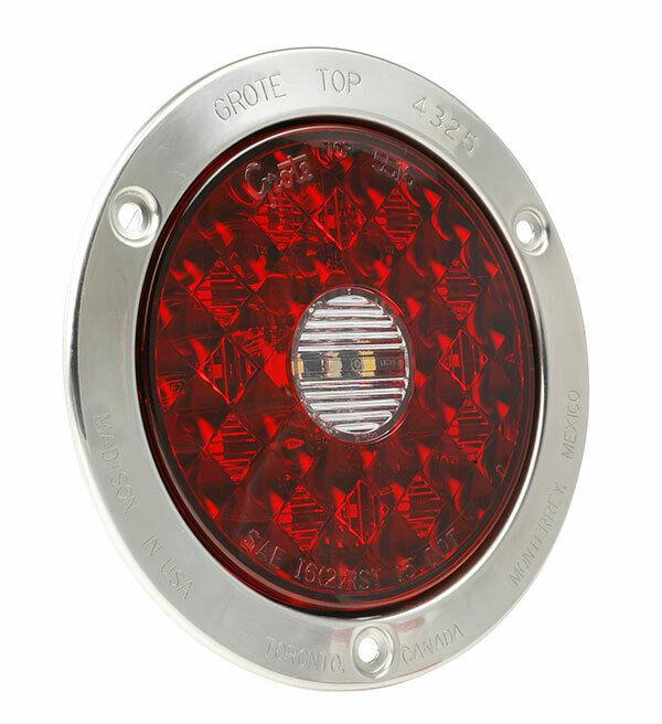 55202 - STT LAMP 4in RED LED RND W/INTEGRTD BACKUP AMP CNNCTR W/SS FLANGE-(1EA)