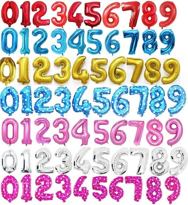 UK SELLER LARGE SELF INFLATING FOIL BALLOONS NUMBERS 0-9 PARTY DECORATION AIR