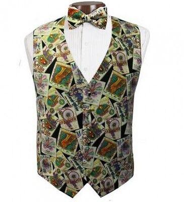 New Mardi Gras Jazz Posters Tuxedo Vest and Tie - Mardi Gras Tuxedo Vest