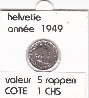 S 1) pieces suisse de 5  rappen de 1949   voir description