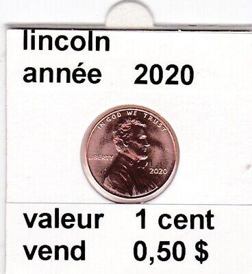 e 4 )pieces de 1 cent  2020  lincoln