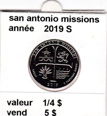 e 3)pieces de 25 cent  2019 S  san antonio missions