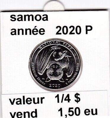 e 4 )pieces de 1/4 dollar  samoa   2020 P