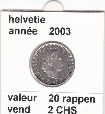S 1) pieces suisse de 20  rappen de 2003   voir description