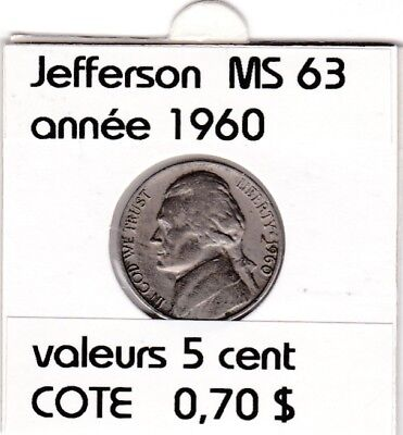 e2 )pieces de 5 cent  1960     jefferson