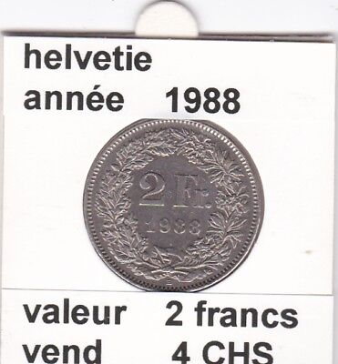 S 2) pieces suisse de 2 franc de 1988  voir description