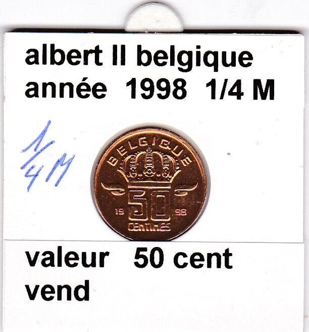 BF 1 )pieces de 50 cent belgique  1998 albert II   1/2 medaille &