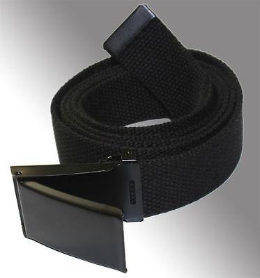 New Flip Top Adjustable Web Canvas Black Belt Buckle For Military Golf Tactical