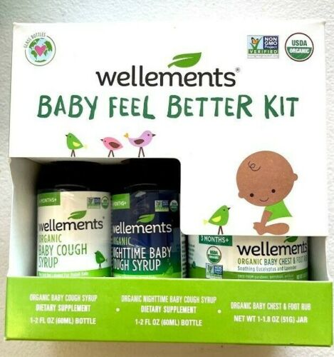 Wellements Baby Feel Better Kit, 3 piece set Organic Cough Syrup, Chest Rub