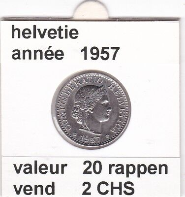 S 2) pieces suisse de 20  rappen de 1957  voir description