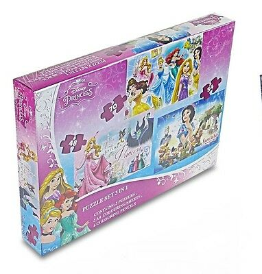 NEW OFFICIAL DISNEY PRINCESS JIGSAW PUZZLE TRIO PUZZLE GAME 3 IN 1 PUZZLES
