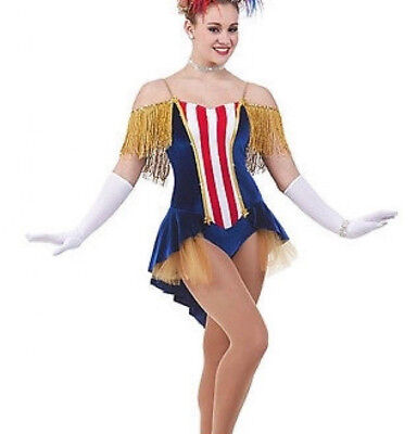 Miss America Baton Tap Ice Skating Majorette Dance Costume Child Medium