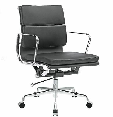 Eames Soft Pad Management Office Chair Replica, Premium Italian Leather Black for sale  New York