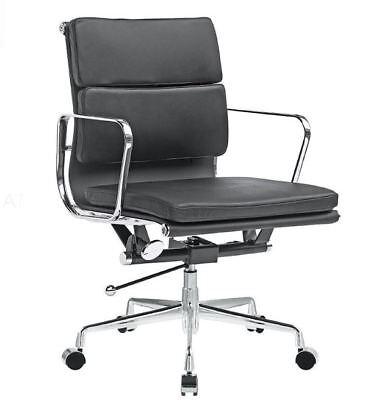 Eames Soft Pad Management Office Chair Replica Premium Italian Leather Black