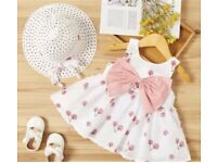 UK Baby Girl Summer Dress & Hat Set *limited stock* multiple sizes*