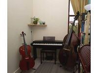 Piano, cello or double bass lessons / tuition at my comfortable home teaching studio in Cathcart!