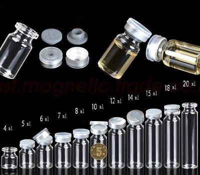Lots 4ml-20ml Empty Glass Bottles Butyl Rubber Stopper Aluminum Seal Caps Vials