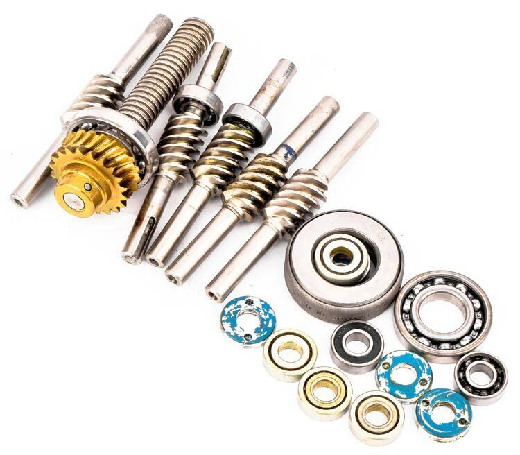 Lot 19 Pieces Industrial Worm Gear Shaft Wheel Assembly Ball Bearing Components