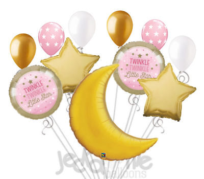 11 pc Twinkle Little Star Baby Girl Balloon Bouquet Party Decoration Shower (Baby Girl Balloon Bouquet)