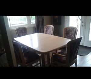 Solid white oak table with 6 chairs