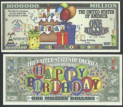 Happy Birthday Wishes Million Dollar Bill Funny Money Novelty Note   Free Sleeve