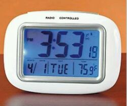 Cordless Atomic Digital Alarm Clock weather Glow Large LCD Table Top