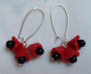 Czech-glass-Cluster-earrings-opaque-red-black-Bell-flower-Art-Deco-Vintage-Style