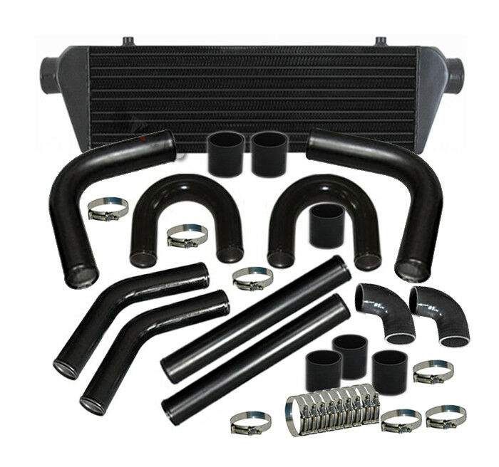 "JDM 28/"" TURBO INTERCOOLER BLK+2.5/"" ALUMINUM BLACK PIPING PIPE KIT Black COUPLERS"