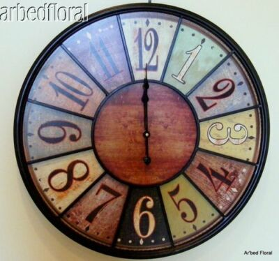 24 Wooden Large Bistro Tuscan Wall Clock Rich Coloring Number Iron Battery