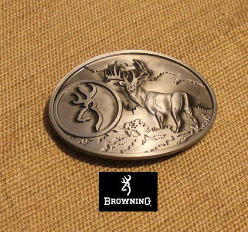 Browning Belt Buckle Large size Silver color Deer Country hunting fishing