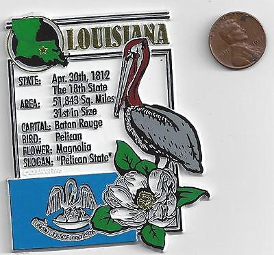 LOUISIANA  STATE MONTAGE FACTS MAGNET with state  bird  flower  and flag,