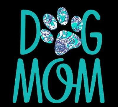 Dog Mom Decal with Blue, Teal and White Decorative Paw Print - Window Decal](Dog Decorations)