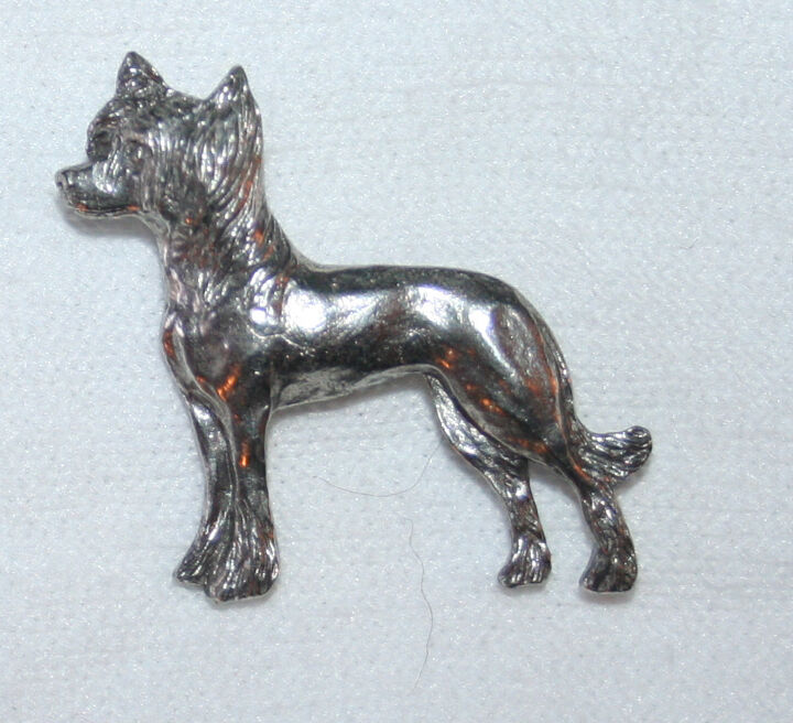 Chinese Crested Dog Fine PEWTER PIN Jewelry Art USA Made