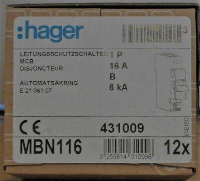 Hager Leitungsschutzschalter B16A 6kA 1-polig 230/400V B-Charakter MBN116