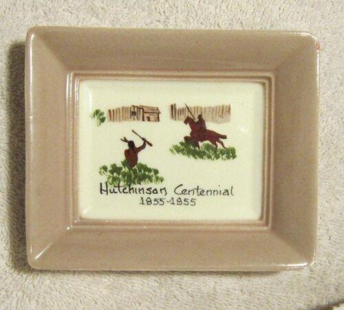 Hutchinson MN Centennial 1855-1955 Glass Wallhanging hand painted Annie Laura