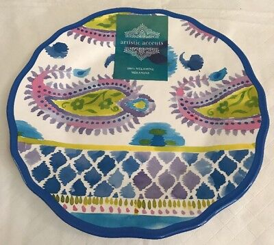"""(Artistic Accents IKAT Paisley Melamine Dinner Plate New Blue Purple Green 10.5"""")"""