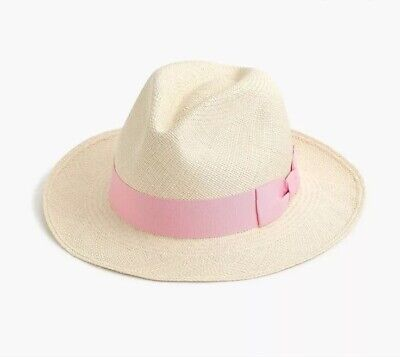 NWT J.Crew Panama Straw Hat Ivory with Grosgrain Pink Ribbon Size Small/Medium