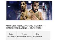 2x tickets for Anthony Joshua vs Eric Molina - 10/12/2016