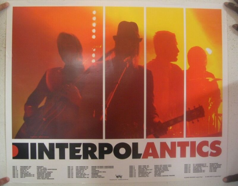 Interpol Poster Promo Antics Tour Dates Mint