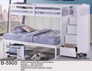 TWIN OVER FULL BUNK BED WITH STAIRCASE AND DRAWERS IN WHITE *MATTRESSES SOLD SEPARATELY