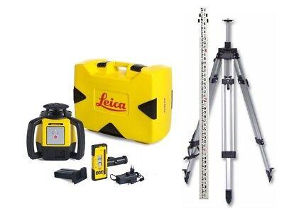 Rotating Laser Leica Rugby 610 W Rod Eye 120 Li-ion Elevating Tripod Rod
