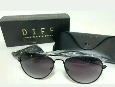 DIFF Cruz Sunglasses Aviators Black 100% UVA/UVB Protection + CASE Men's (Womens Sunglasses Case)